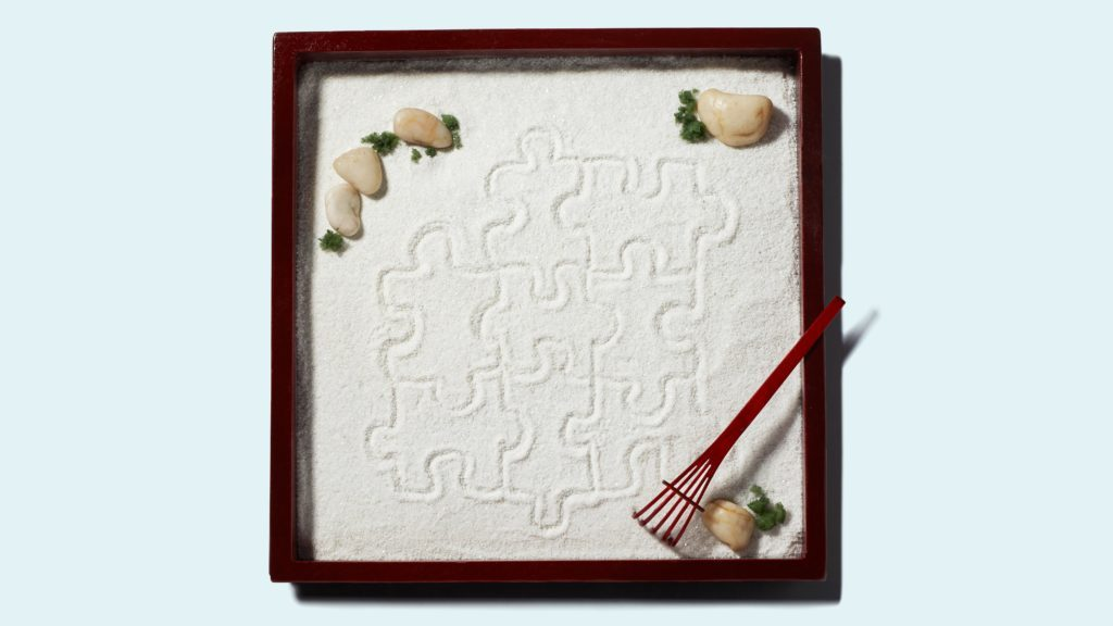 puzzle pieces drawn in a zen garden