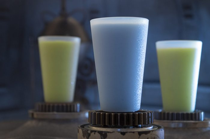 Blue and green milk from Star Wars: Galaxy's Edge