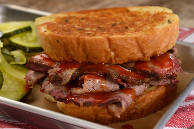 Sliced Texas Beef Brisket Sandwich from Regal Eagle Smokehouse Craft Drafts and Barbecue