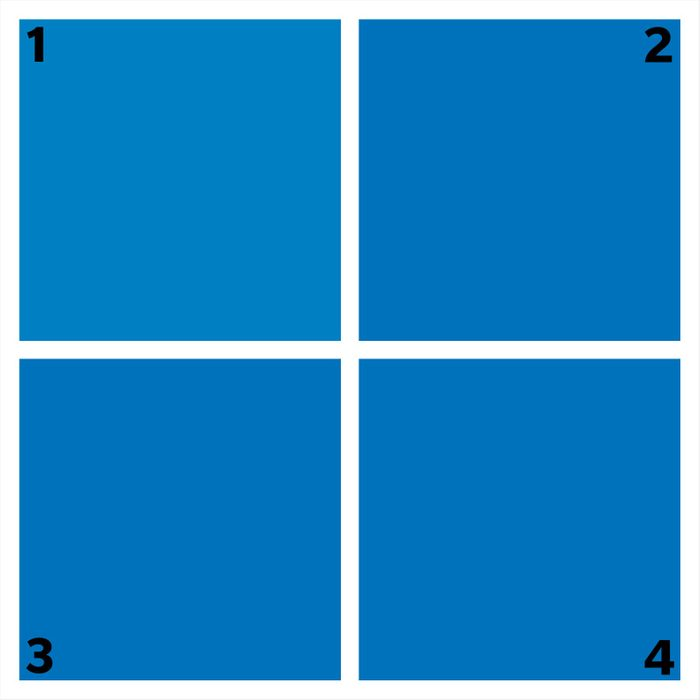 four blue squares. one is different.