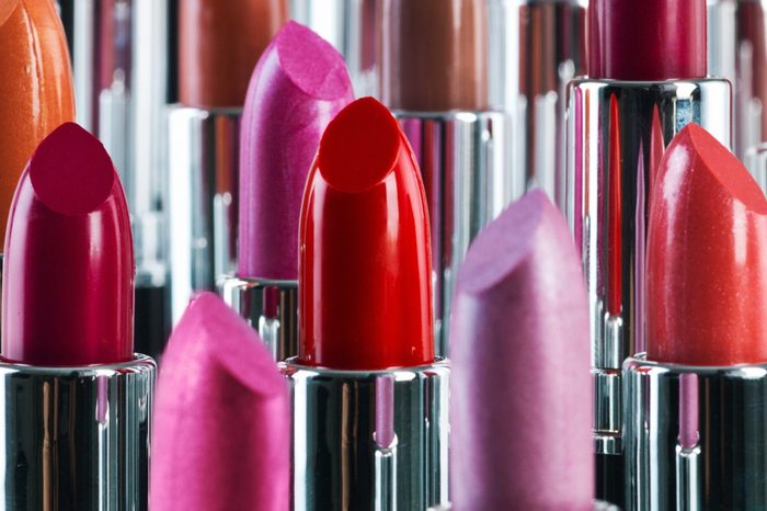 A studio shot of different coloured lipsticks