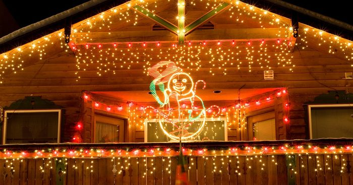 Houses in alpine village of Leavenworth, WA decorated in December