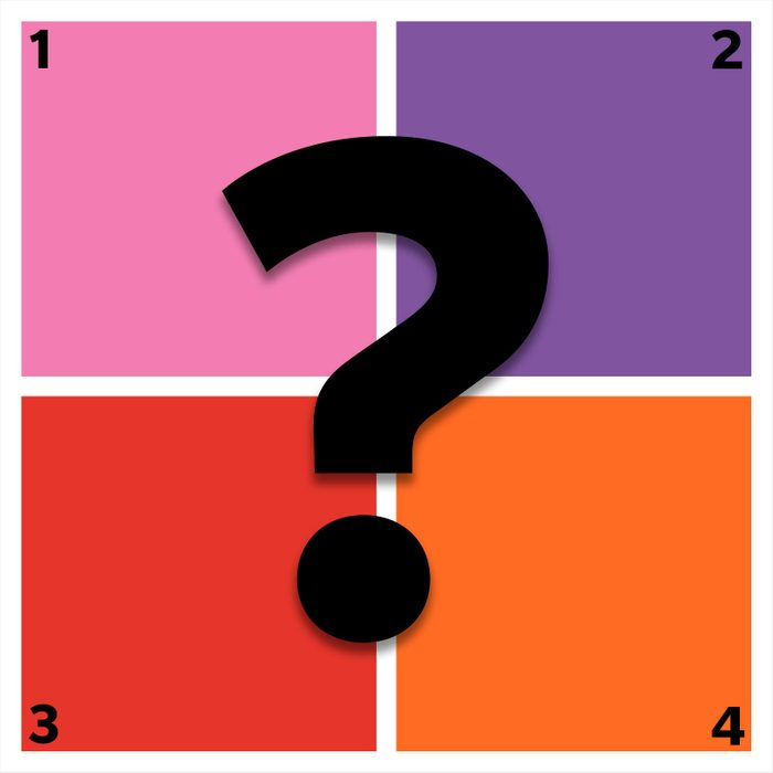 four squares of color with question mark overlay