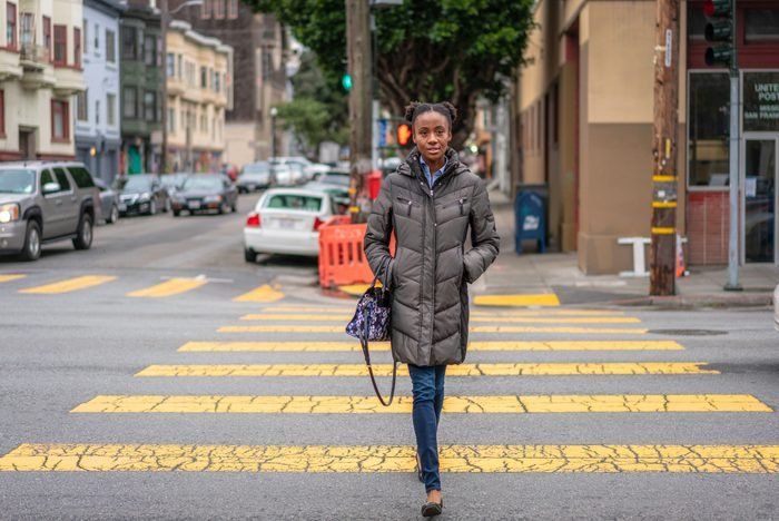 Crossing the street in San Francisco's Mission District