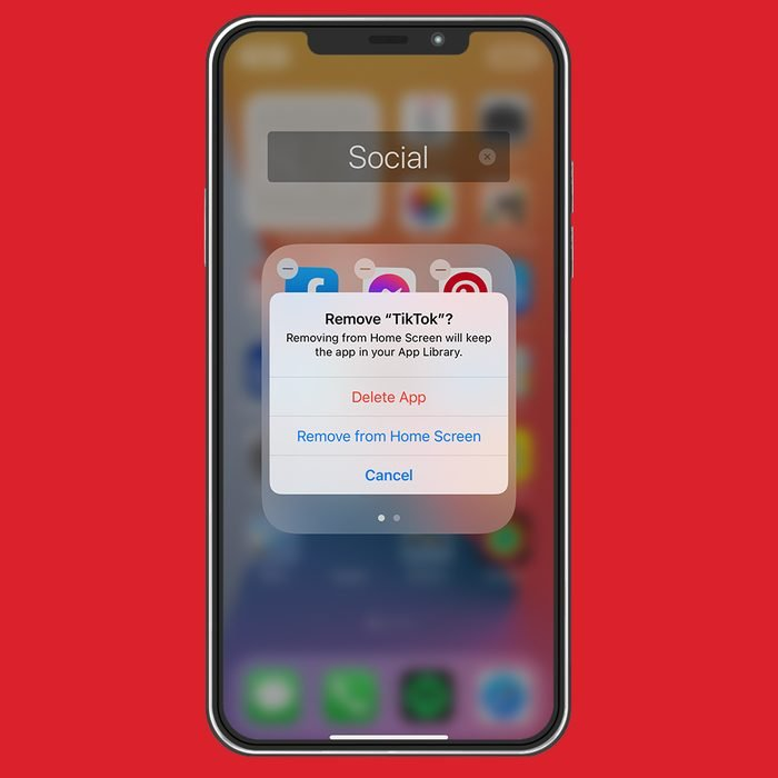 iphone screenshot on red background