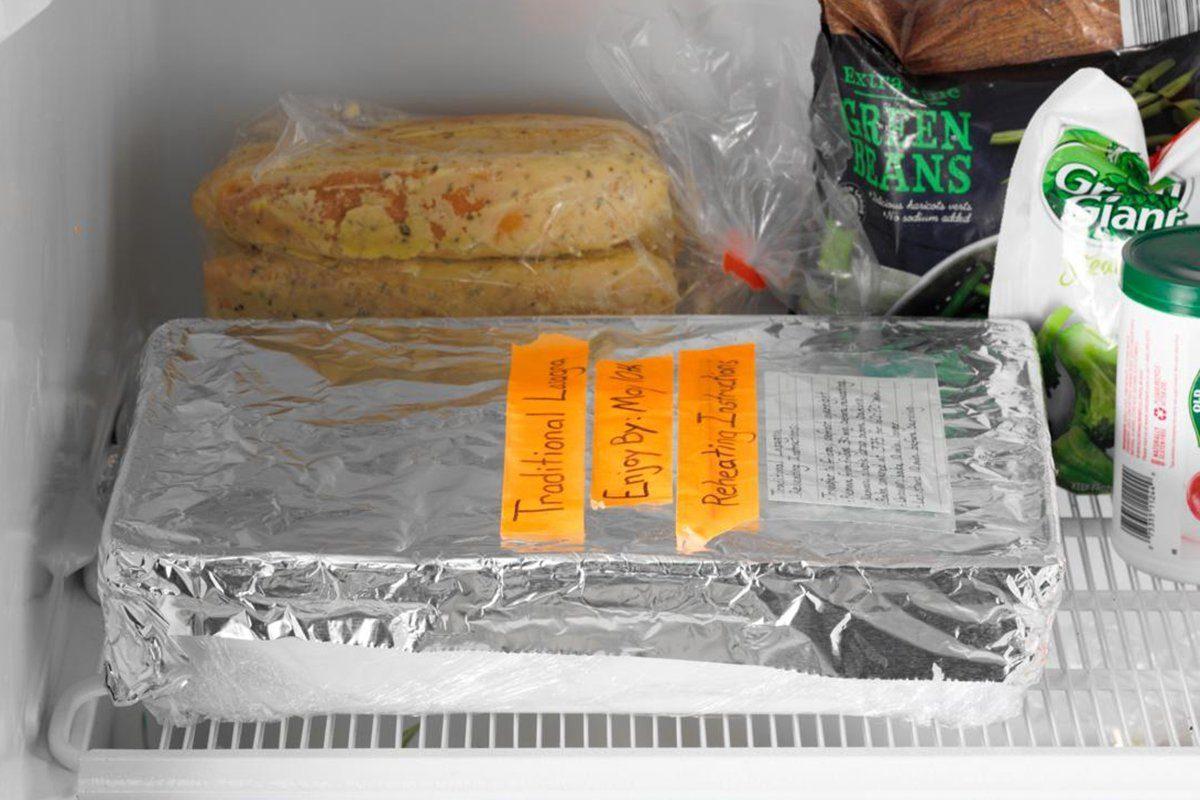 How to Freeze Lasagna AP; how to;freezer interior; freezer stocked with product; aluminum wrapped lasgana; lasagna pan; 13x9