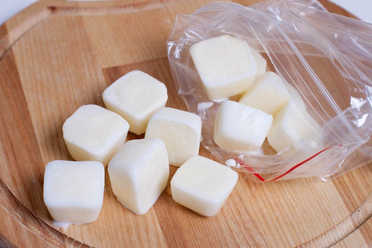 Frozen milk cubes stored in a plastic bag