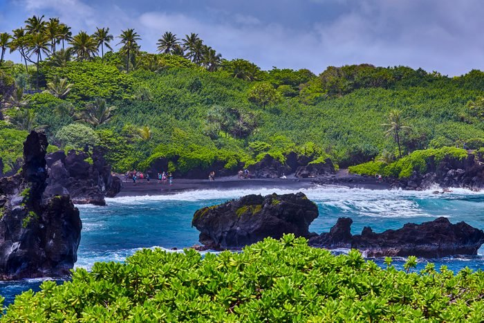 Honokalani beach,black sand beach,Waianapanapa State Park,Maui,Hawaii,USA