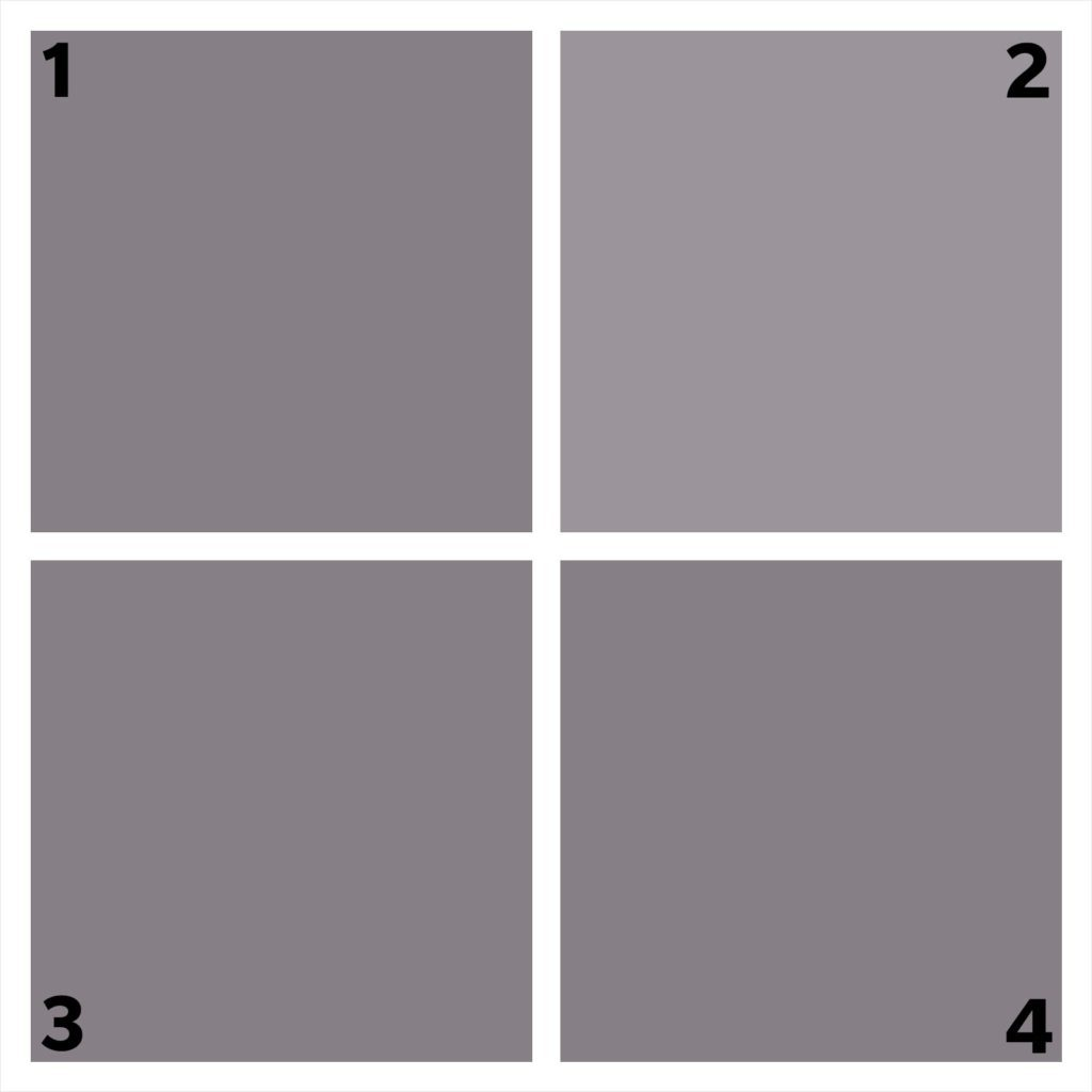 four gray squares. one is different.