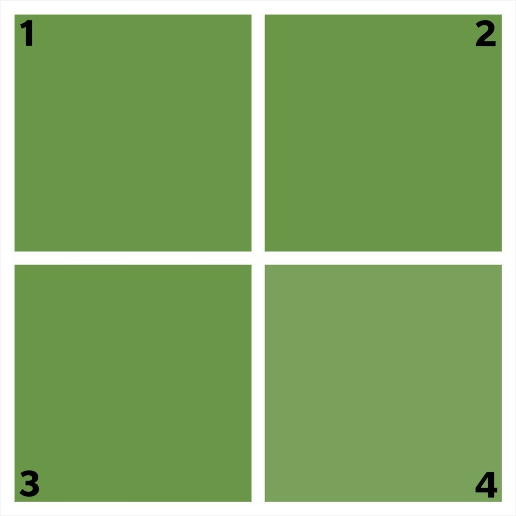 four green squares. one is different.