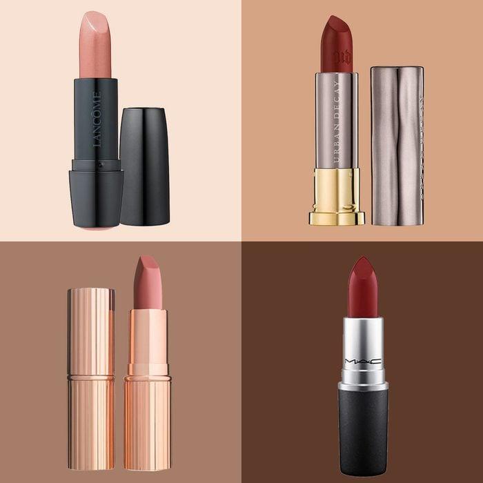 four lipsticks on skin tone colorblock background