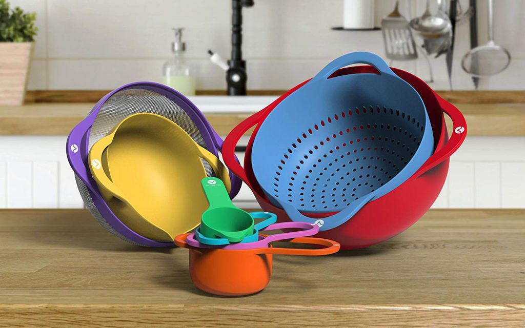 Vremi 13 Piece Mixing Bowl Set - Colorful Kitchen Bowls Colander Mesh Strainer with Handles Measuring Cups and Spoons - BPA Free Plastic Nesting Bowls with...