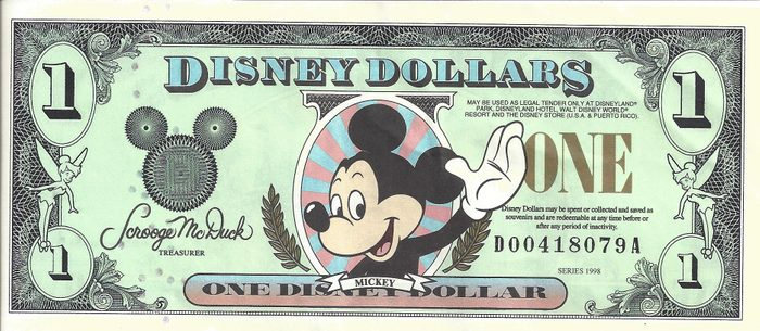 disney dollars 90s disney world