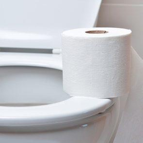 toilet paper on toilet