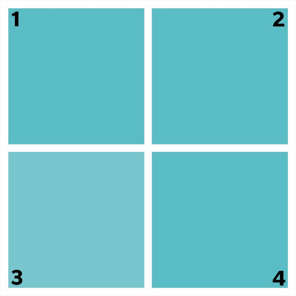 four turquoise squares. one is different.