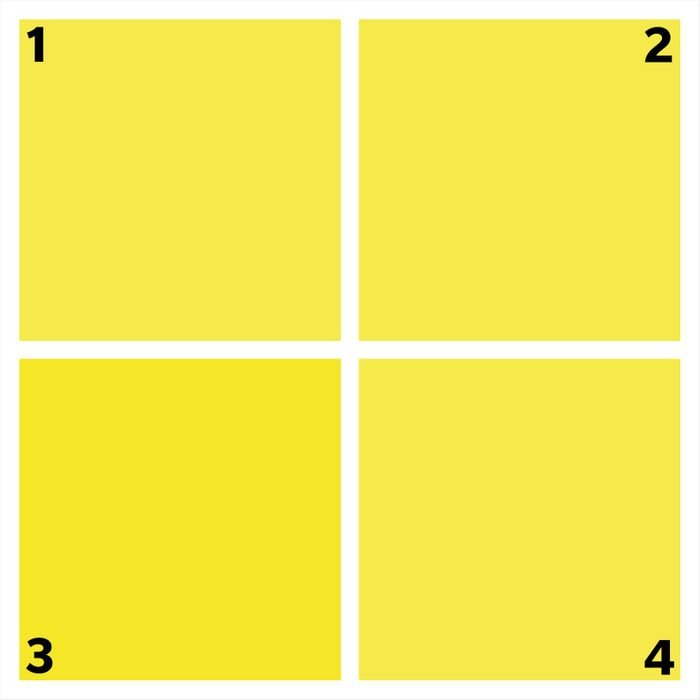 four yellow squares. one is different.