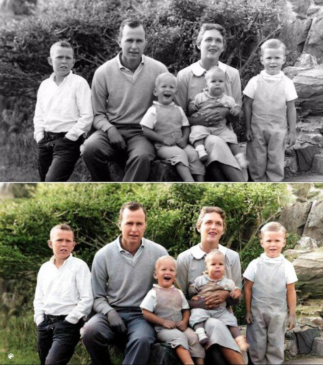colorized bush family photo