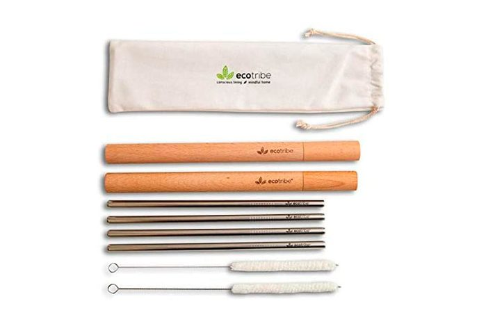 Ecotribe 4 Reusable Metal Straws With Portable Case