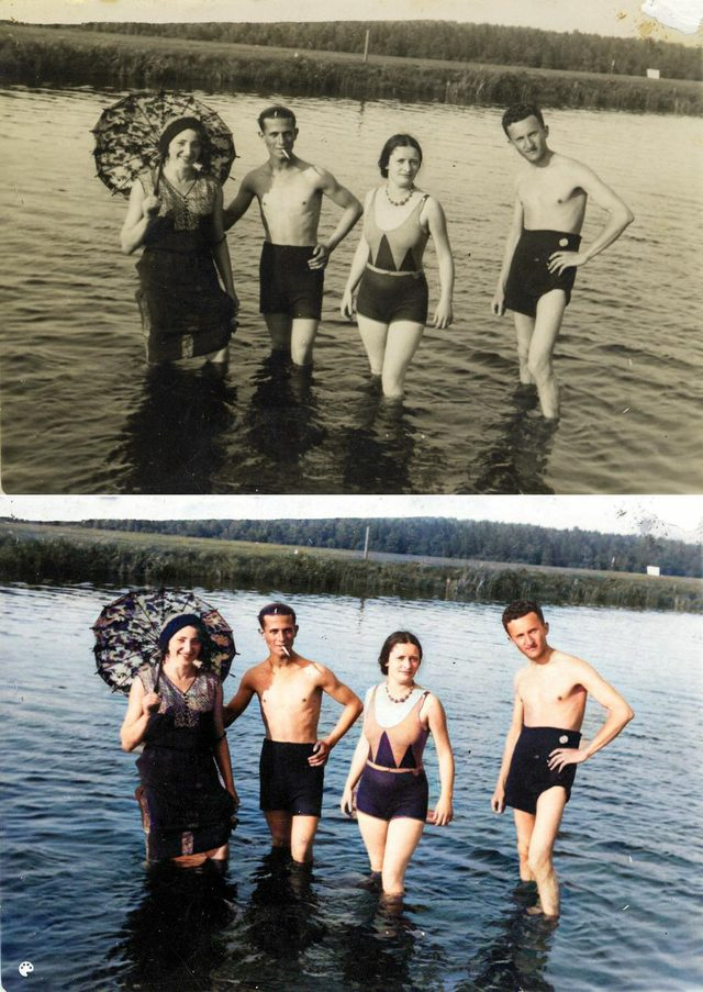 colorized family by the lake