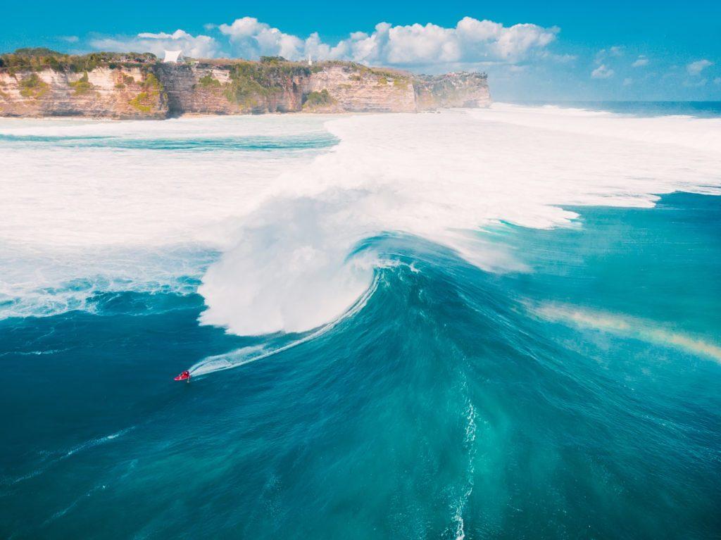 Aerial shooting of big wave surfing in Bali. Big waves in ocean
