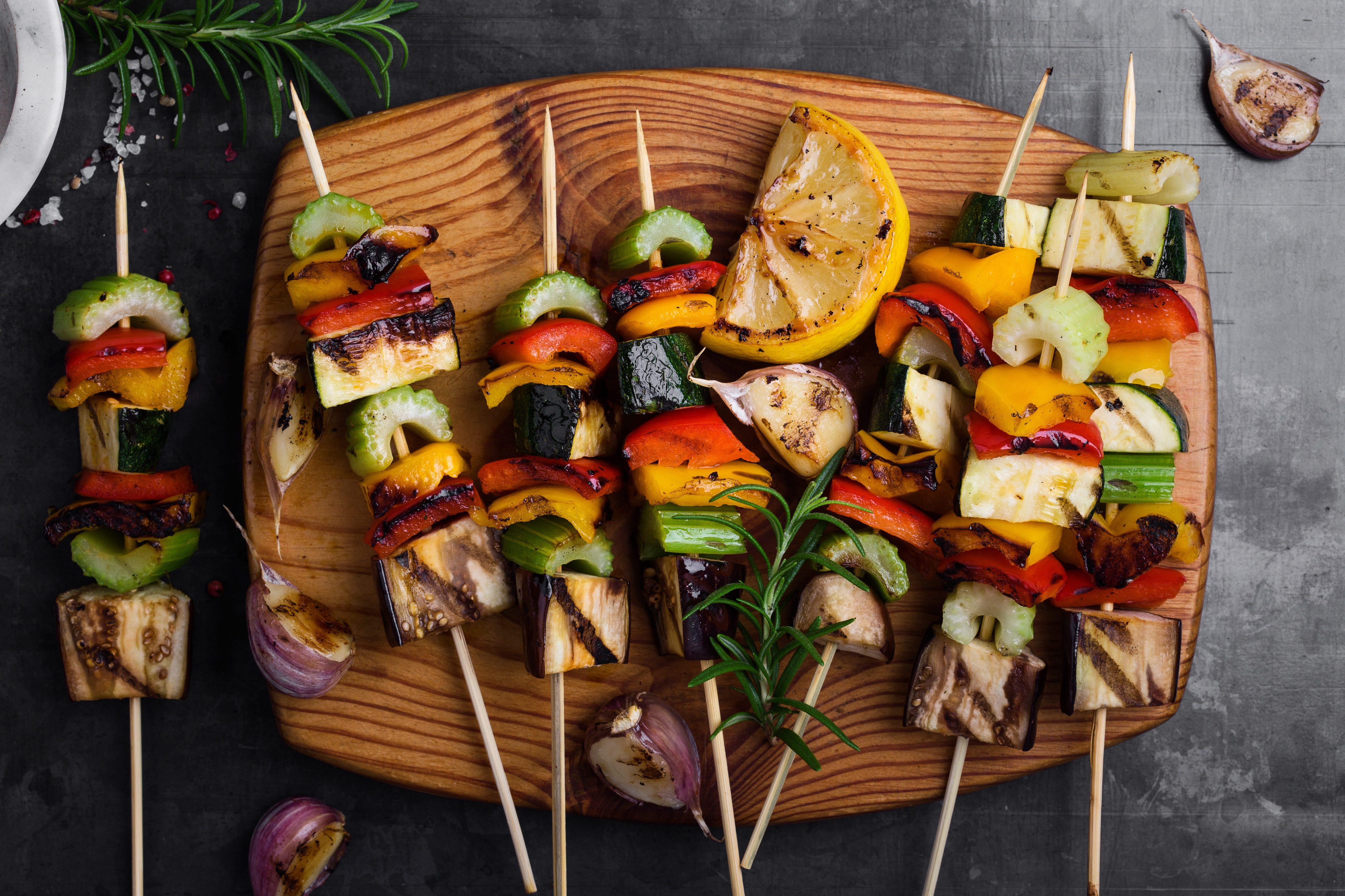Colorful grilled summer seasonal vegetables skewers
