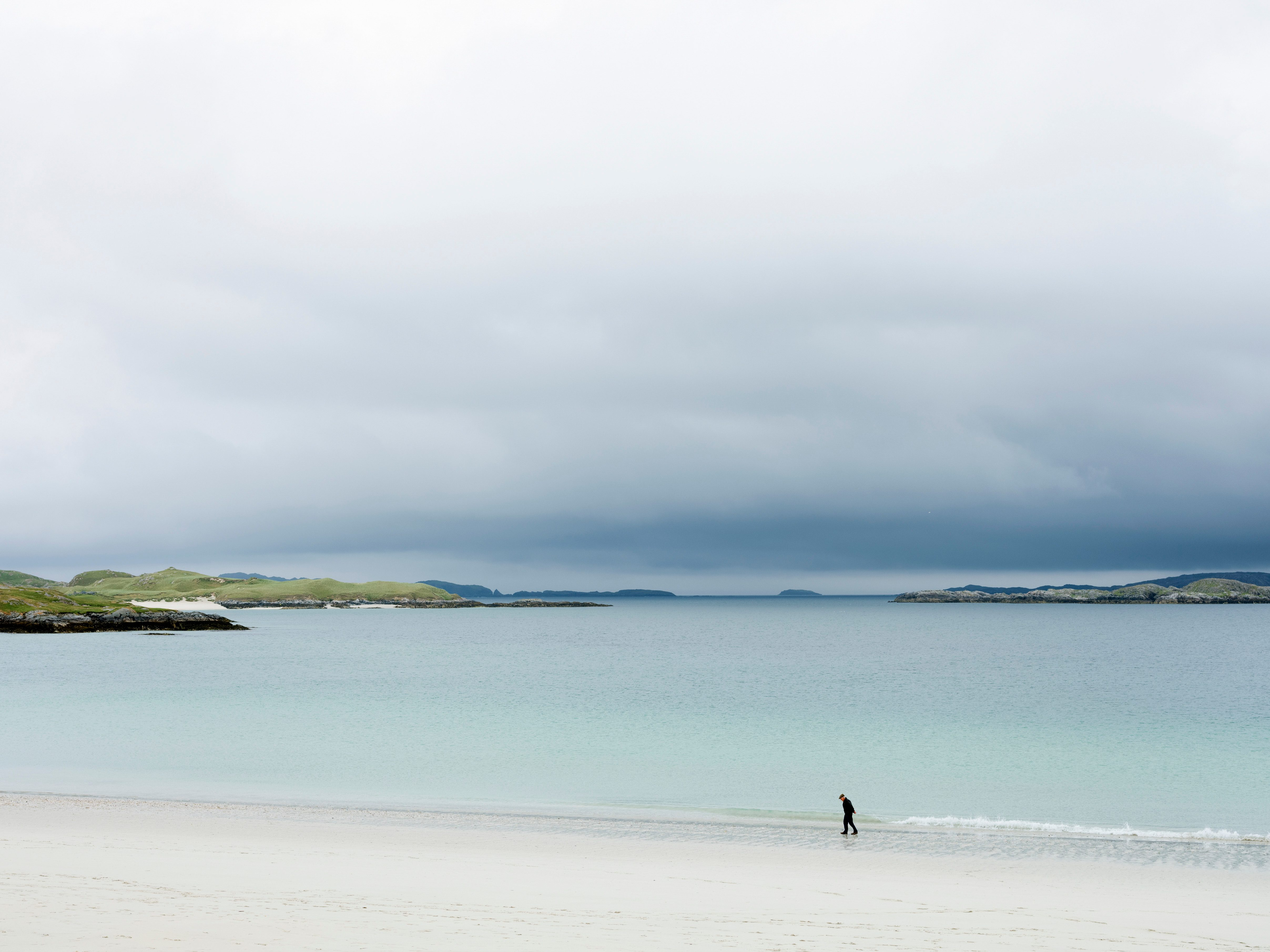 Walking On The Beach On The Outer Hebrides Of Scotland
