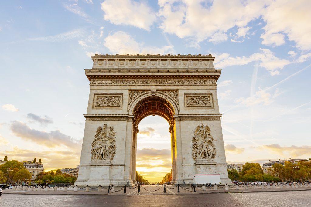 Arc de Triomphe and Champs-Elysees at dawn, Paris, France