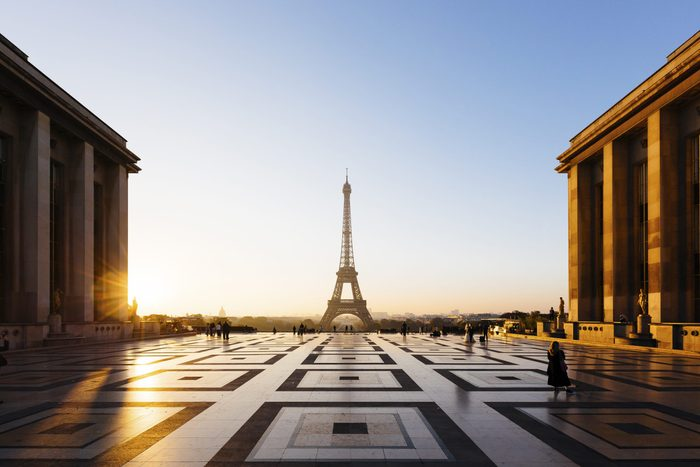 Eiffel Tower and Trocadero square during sunrise, Paris, France