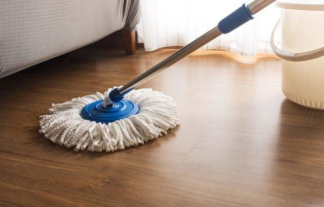 Mop cleaning on wooden floor