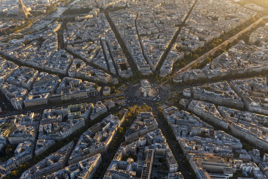 Aerial view of Arc de Triomphe in Paris France at sunset