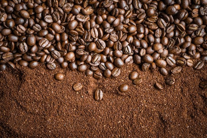 High Angle View Of Roasted Coffee Beans On Table
