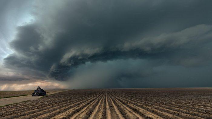 Tornado Intercept Vehicle with a severe thunderstorm, Colorado. USA
