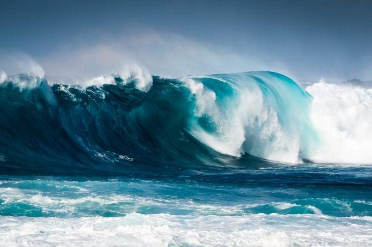 Waves breaking on the coast of Lanzarote, La Santa. Canary Island