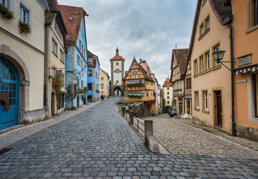 Famous intersection with stunning medieval buildings in Rothenburg Germany