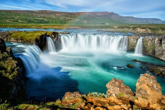 The Godafoss (Icelandic: waterfall of the gods) is a famous waterfall in Iceland. The breathtaking landscape of Godafoss waterfall attracts tourist to visit the Northeastern Region of Iceland.