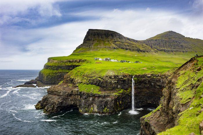 Denmark, Faroe islands, Vagar, Gasadalur waterfall