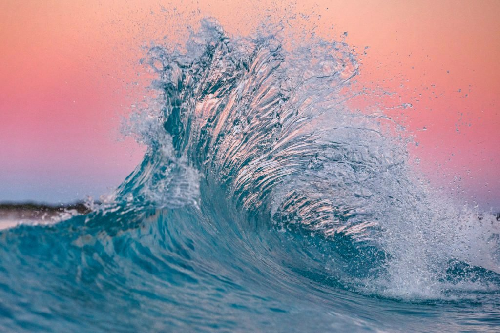 Pink flare in the ocean