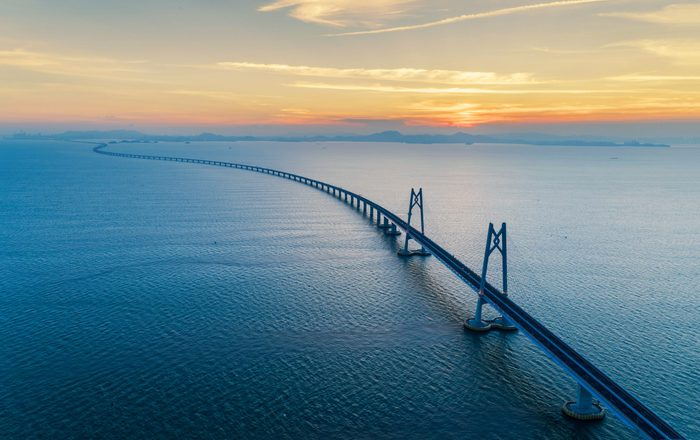 huge bridge with beautiful sunset Hong Kong-Zhuhai-Macau Bridge