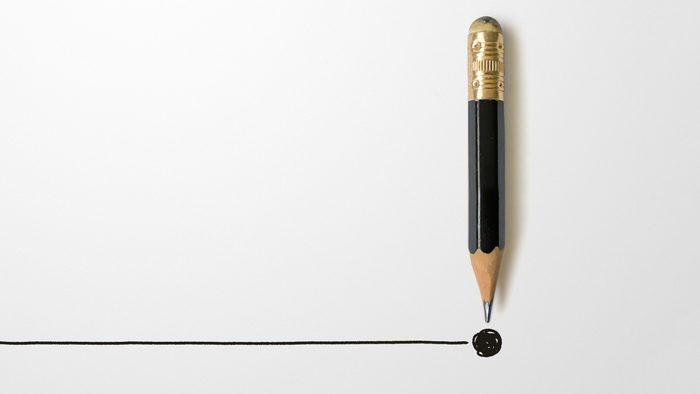 pencil ending a blank line