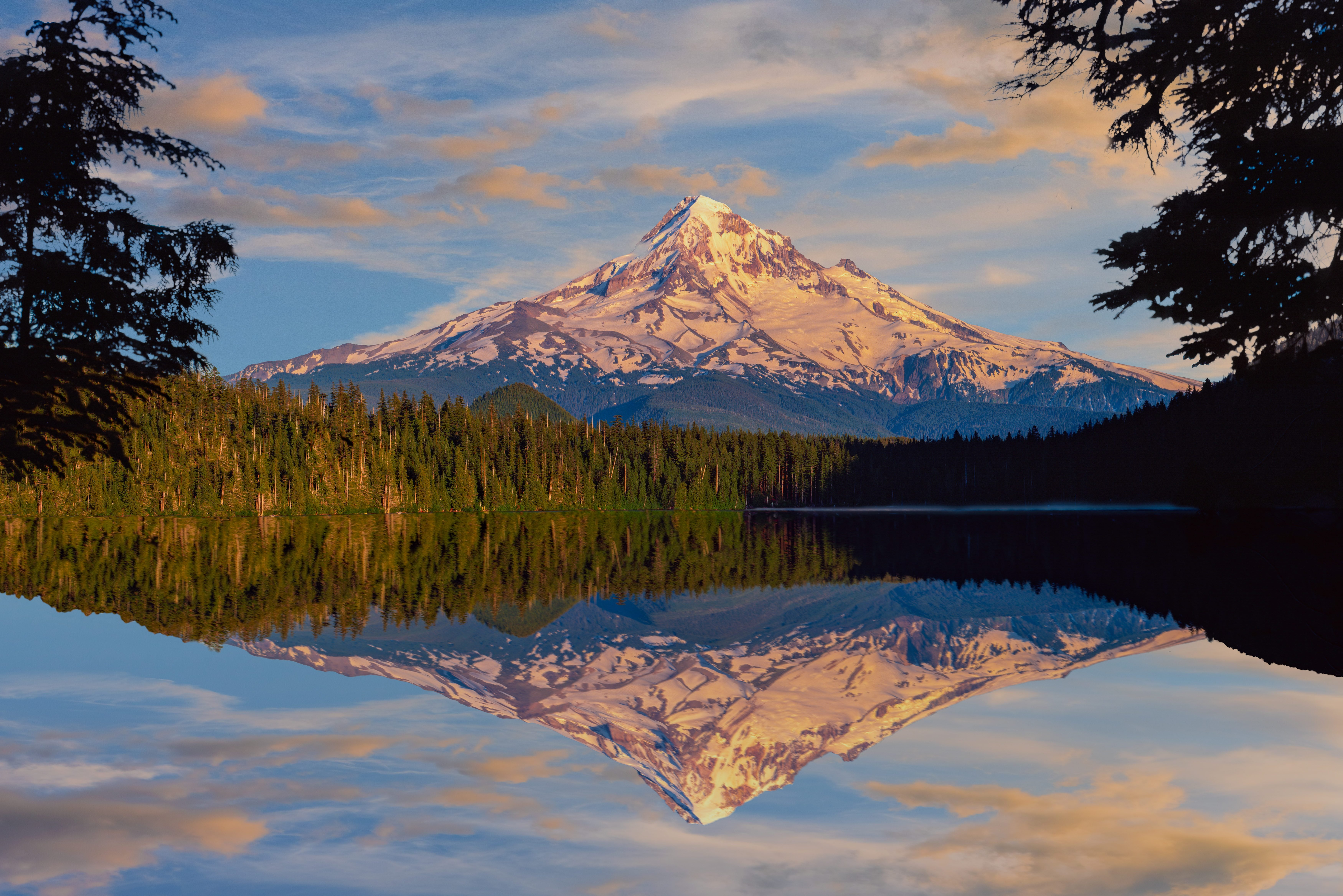 Spring morning in the Cascade Range with Mt. Hood, OR