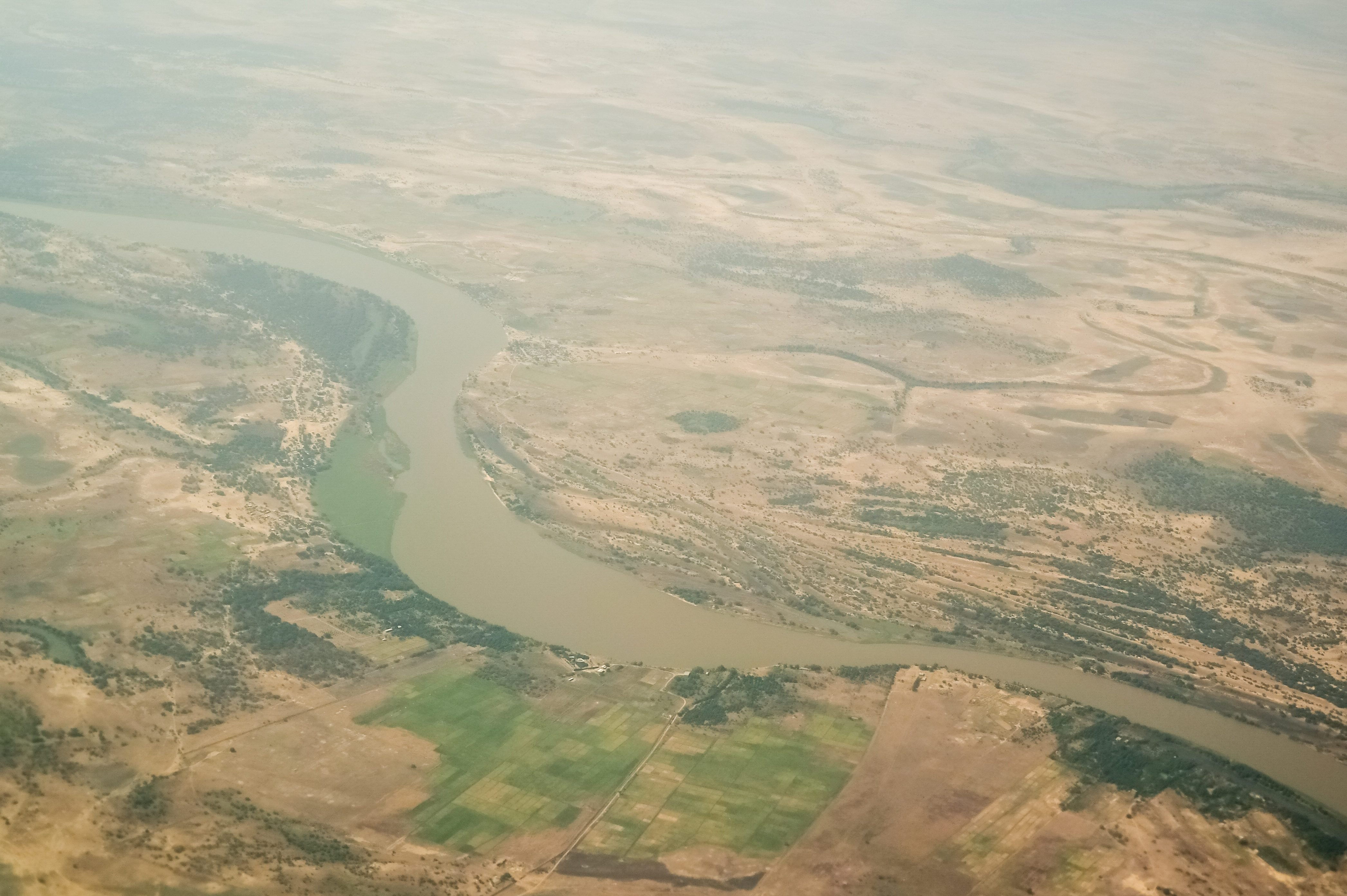 aerial aeroplane view to Chari or Shari River , natural border between Chad and Cameroon