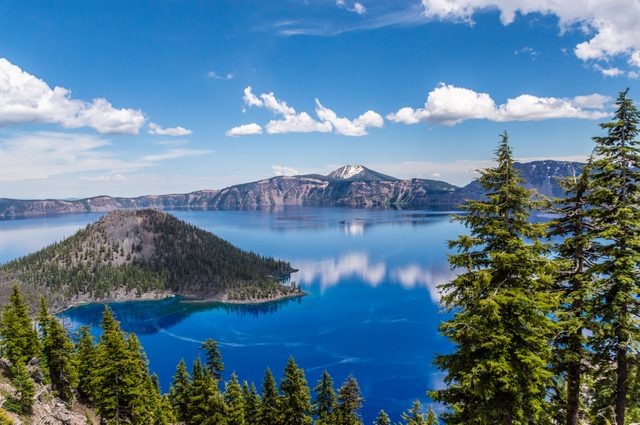 Crater lake with blue water