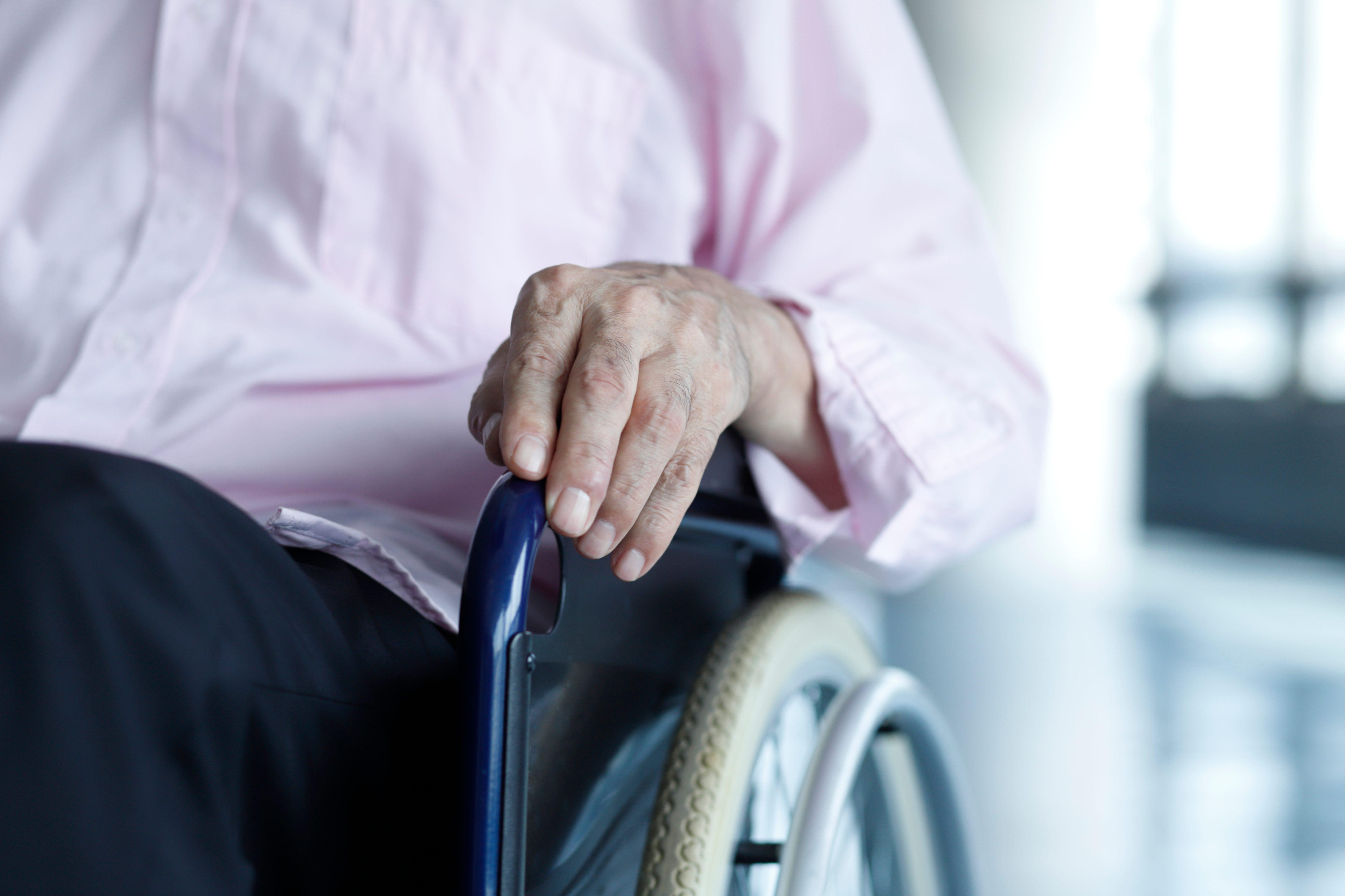 Close up of senior man in wheelchair