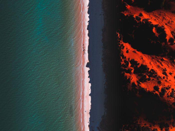 Aerial shot of Cape Peron at sunset, Shark Bay, Australia