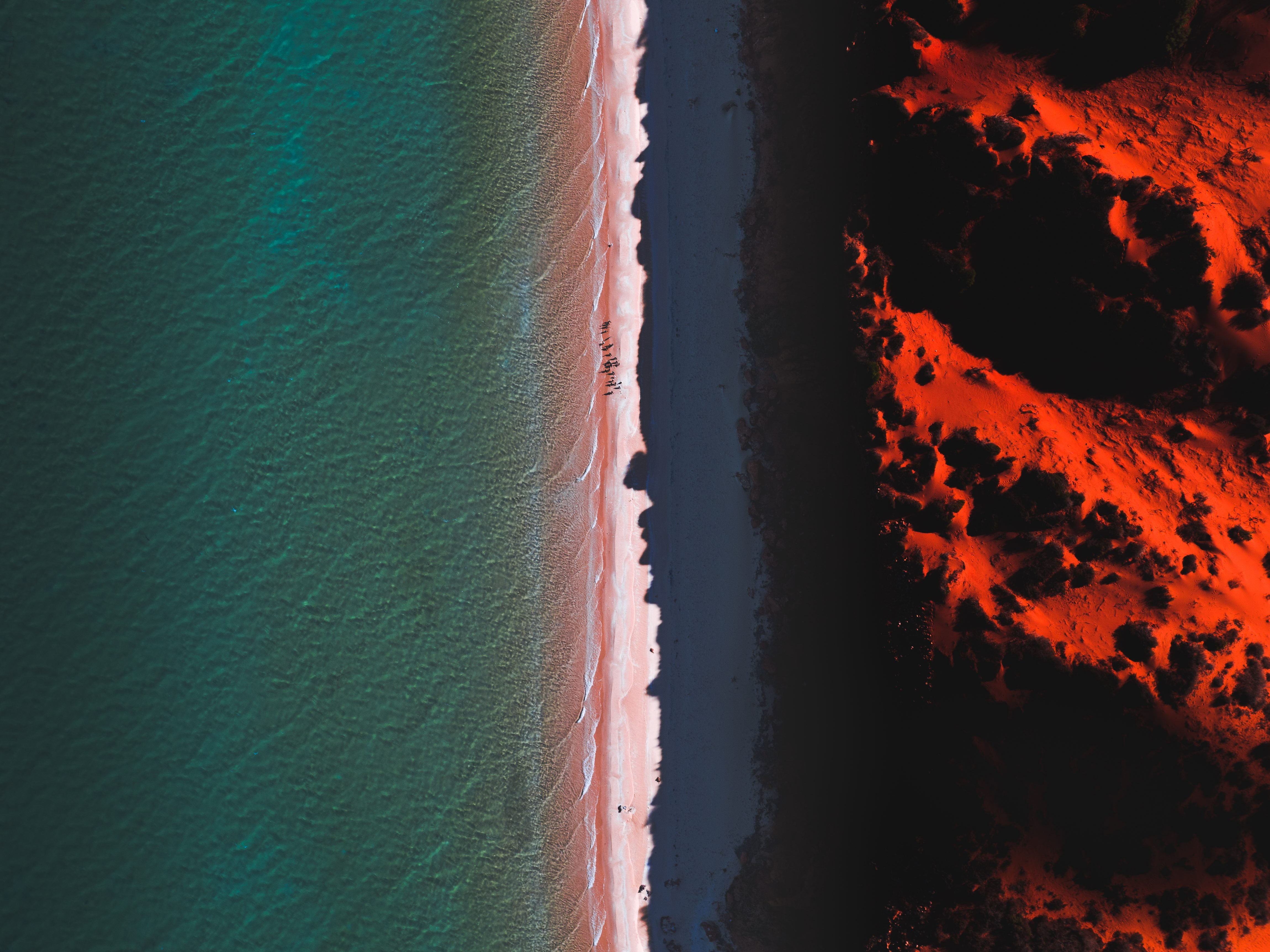 Aerial shot of Cape Peron at sunset, Shark Bay, Australia
