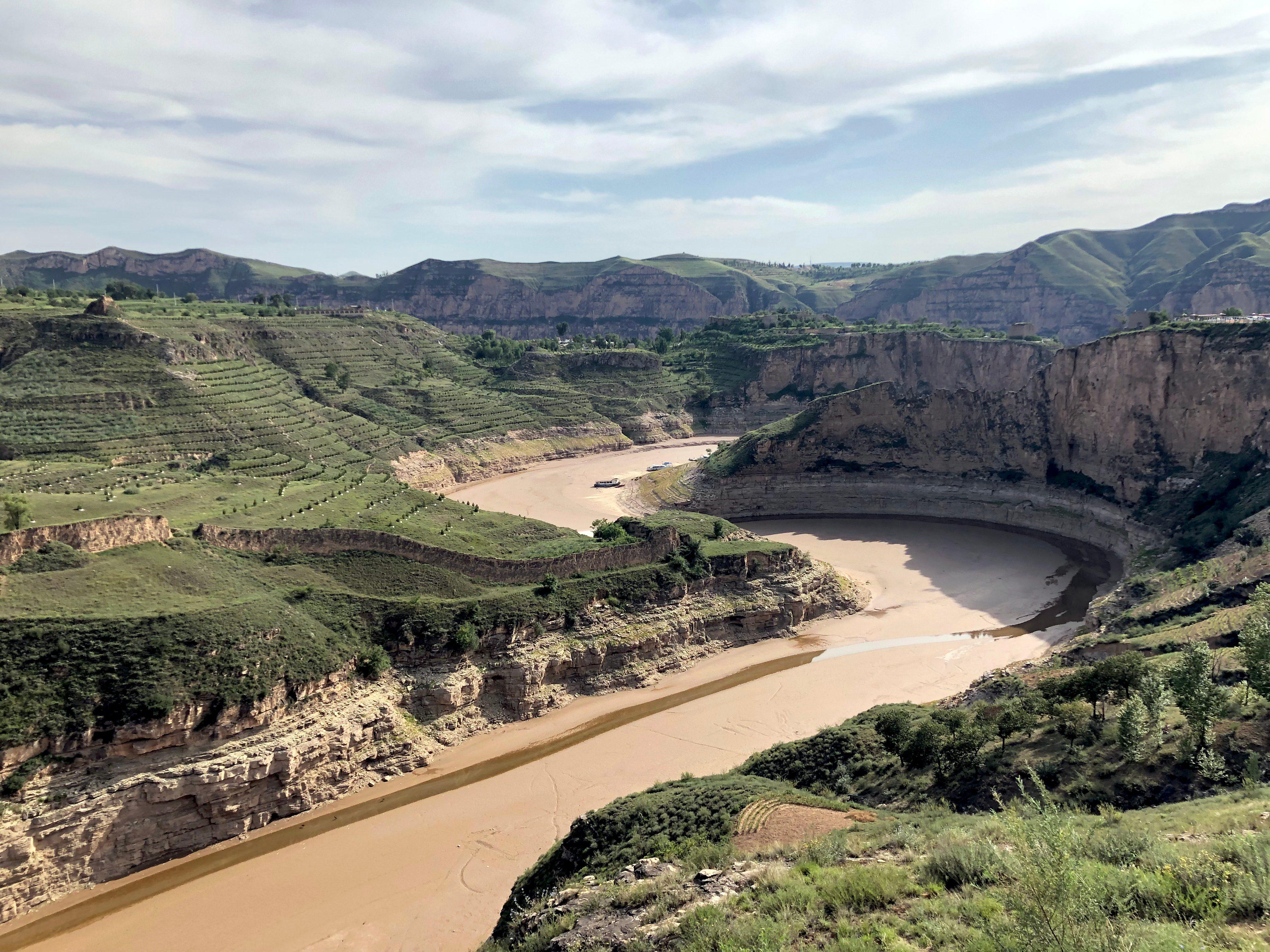 Yellow river landscape at Lao Niu Bay, Qingshui River County, County, China