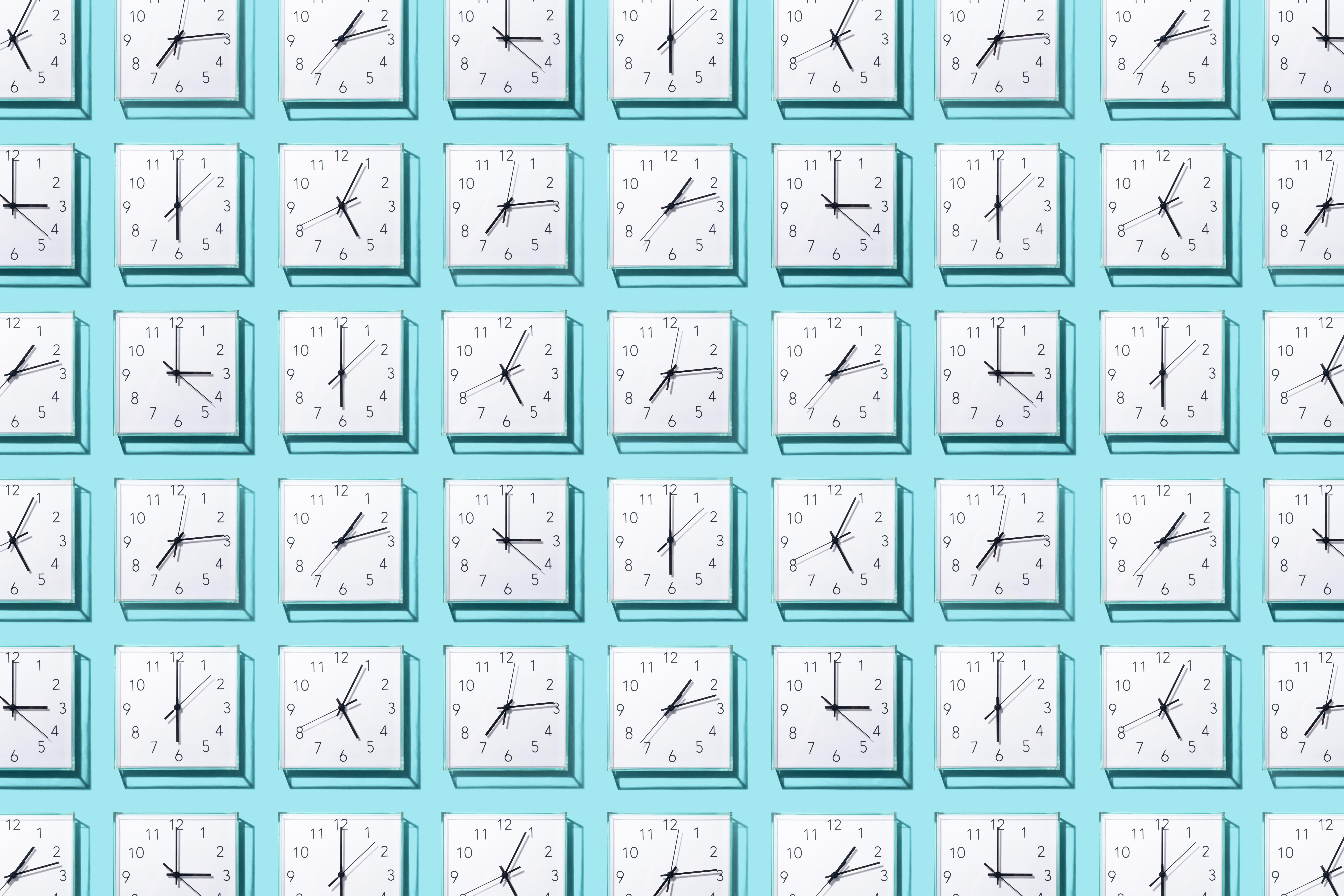 Neatly Arranged Clocks