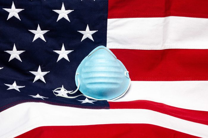 Respiratory mask with the USA flag in the background