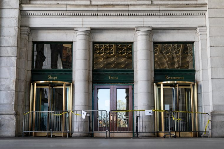 An entrance is closed off at Union Station on April 3, 2020 in Washington, DC