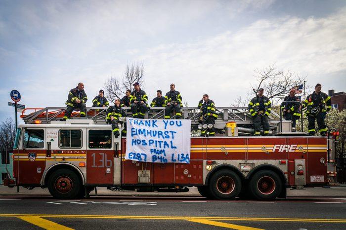 New York City firemen show their appreciation for healthcare...